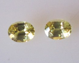 0.61cts  Matching Pair Natural Oval Sapphires 2pcs Beautiful Accent Stones