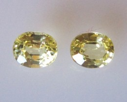 0.66cts  Matching Pair Natural Oval Sapphires 2pcs Beautiful Accent Stones