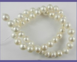 AA++ QUALITY CREAMY WHITE ROUND 9-10MM FRESHWATER PEARL STRAND!!