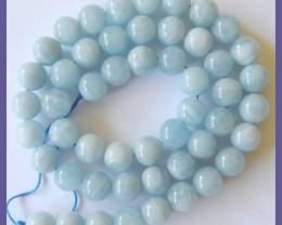 AA+ FABULOUS 8-8.50MM AQUAMARINE SMOOTH ROUND BEAD STRAND!!