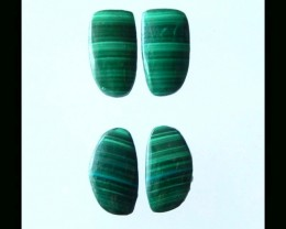 14 Cts Natural Malachite Cabochon Pair - 13x7x2 MM