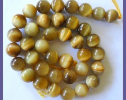 BEAUTIFULLY CHATOYANT NATURAL 10MM ROUND GOLD TIGER EYE BEADS!!