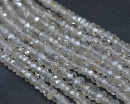 "3mm - 4mm 8"" Ivory White Zircon faceted beads AAA quality FREE POST zi"
