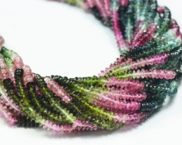 """3mm 15.5"""" Watermelon Tourmaline smooth roundelle beads pink, green, bl"""
