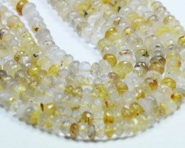 "SALE 7mm 10"" Golden RUTiLE QUARTZ roundelle faceted beads AAA 10"""