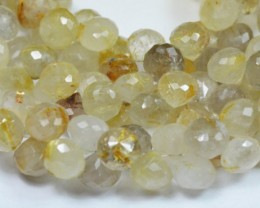 SALE 20 9mm Golden Rutile Rutilated Quartz briolettes onion shape RUT005