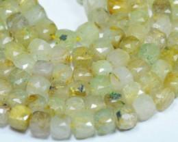 """SALE 7mm 9"""" Golden RUTiLE QUARTZ faceted cube beads 9"""" line RUT00"""