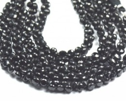 6mm 35 gems of Black Spinel briolettes faceted onion shape - diamond polish