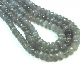 "6mm to 10mm 15"" Steel Grey Moonstone BEADS faceted roundelles MSG002 A"