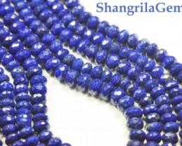 "5MM 18"" line Lapis Lazuli blue faceted beads roundelles AA Grade lapb0"