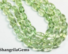 "10mm to 12mm by 7mm 15"" Green Amethyst oval faceted beads AAA Grade AM"