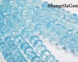 "6mm to 11mm 15"" Swiss Blue Topaz beads faceted roundelles AA Grade TOP"