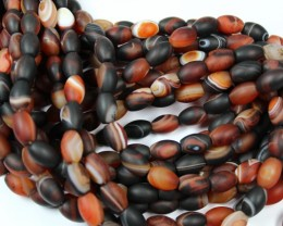 1 STRAND AGATE BANDED BARREL MATT POLISHED FINNISH 11 X 8 MM 15 INCHES