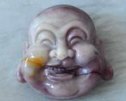 Natural Mookaite Jasper Laugh Buddha Carving ,26x27x11mm,51.3cts