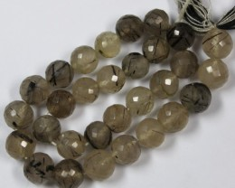 77 CTS - 1 STRAND RUTILE QUARTZ 6 X 6 MM 10 INCHES