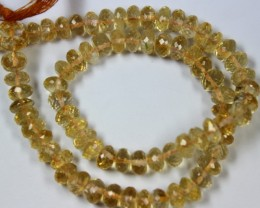 124 CTS - 1 STRAND CITRINE BEADS 6 X 6 MM - 13 INCHES