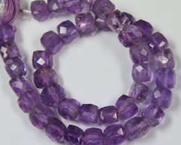 109 CTS - 1 STRAND AMETHYST BEADS 6 X 6 MM - 10 INCHES