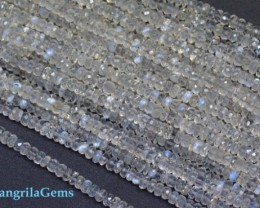"4mm 14"" Sri Lanka Celon Moonstone gemstone beads blue gold luster AAA"