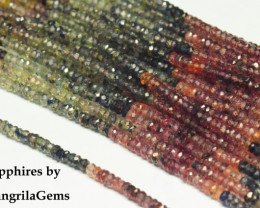 "3mm 16"" Mixed Sapphire faceted beads blue, green, orange, yellow, red,"