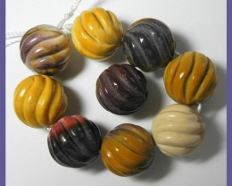 HIGH QUALITY 16.00 CARVED ROUND MOOKAITE BEADS