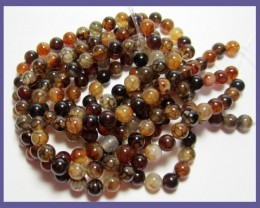 HIGH QUALITY 8MM NATURAL COFFEE DRAGON VEIN AGATE ROUND BEADS!!