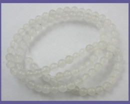 HIGH QUALITY 4.00MM NATURAL WHITE AGATE ROUND BEADS!!