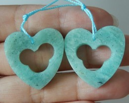 Lovely Heart ! Heart Shape Amazonite Earring Beads , 26x3MM, 32cts