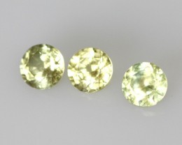 0.88cts Natural Australian Yellow Sapphire Round Cut 3pcs