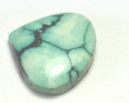 24mm TIBETAN TURQUOISE heart shape gemstone cabochon. Genuine Tibetan Turqu
