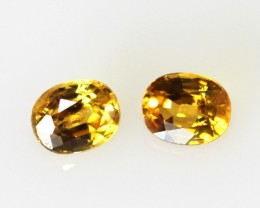 0.45cts  Matching Oval Pair Natural Golden Sapphires 2pcs Beautiful Accent