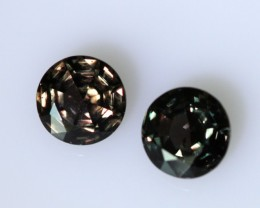 1.40cts  Matching Pair Round Natural Colour-Change Sapphires 2pcs Beautiful
