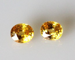 0.86cts  Matching Oval Pair Natural Golden Sapphires 2pcs Beautiful Accent