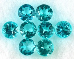 1.22 Cts 8Pcs (3.0mm) Natural Blue Green Apatite - NR Auction