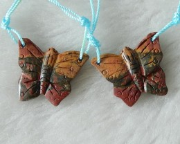 Multi color Picasso Jasper Buterfly Earring Beads , 20x24x3 mm, 22cts