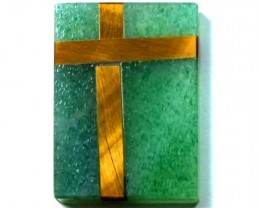 AUSTRALIAN CHRYSOPRASE WITH TIGER EYE  9.5 CTS    LG-167