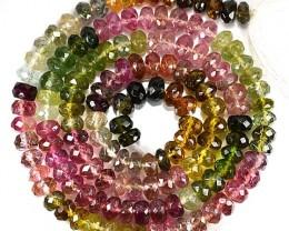 57.70 Cts Natural Bi Color Tourmaline Beads Mozambique
