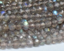 "3mm 14"" LABRADORITE AAA faceted roundelle beads LAB002"