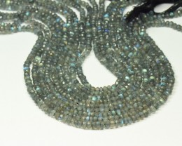 "NEW 4mm 13.5"" LABRADORITE faceted roundelle beads LAB001"