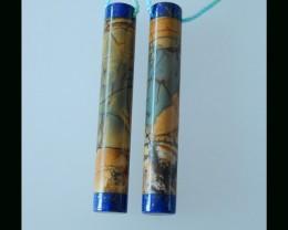 Lapis Lazuli , Multi Color Picasso Jasper Intarsia Long Earring Beads , 39x