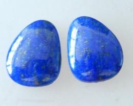 Handmade Polishing Lapis Lauzli Cabochons Pair ,16X12X5 MM , 17.5  CTS
