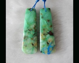 Natural Hand Polished  - Hand Cut  Chrysocolla Earring Beads , 43x15x5 MM ,