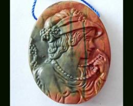 Multi Color Picasso Jasper Beauty Carving Pendant Bead - 38X30X7 mm