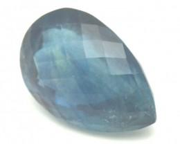 Blue Fluorite gemstone drop heart pear faceted 17.70ct
