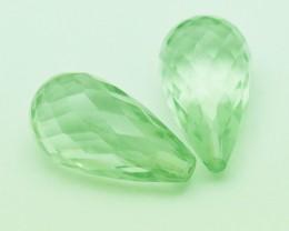 17.5mm Green Amethyst Prasiolite briolettes 18.9ct