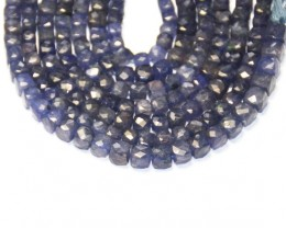 "IOLITE blue cube faceted beads 6mm - 7mm 8"" line iobx01"