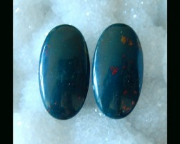 African Bloodstone Oval Cabochon Pair   -  33x17x5 MM ,37 cts