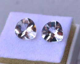 2.55 Carat Matched Pair of Fancy Cut White Topaz