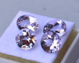 5.16 Carats, 2 Matched Pairs of Lightly Colored Kunzite