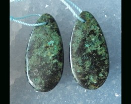 Natural Turquoise  Teardrop Earring Beads  - 31x15x3 MM