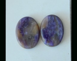Natural Charoite Cabochon Pair  - 19x15x3 MM